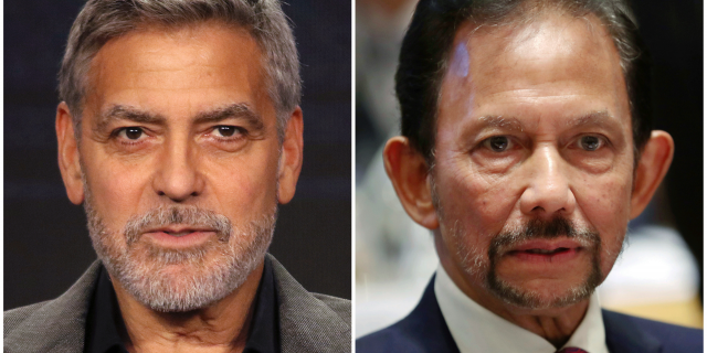 FILE - This combination of file photos shows George Clooney in Pasadena, Calif., on Feb. 11, 2019, left, and Brunei's Sultan Hassanal Bolkiah in Brussels on Oct. 18, 2018. Clooney is calling for the boycott of nine hotels in the U.S. and Europe with ties to Sultan Bolkiah, who's country will implement Islamic criminal laws in April 2019 to punish gay sex by stoning offenders to death. (AP Photo/Willy Sanjuan and Francisco Seco, File)