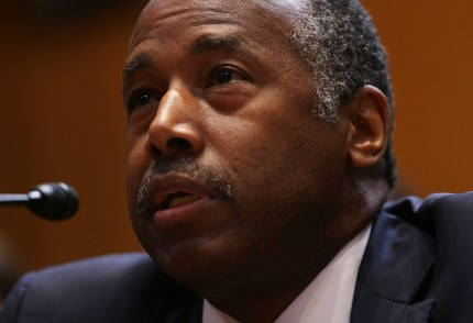 Housing and Urban Development Secretary Ben Carson testifies on Capitol Hill in Washington, DC.