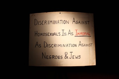 A 1950s picket poster from gay rights pioneer Frank Kameny used to organize protests against the U.S. government's anti-gay laws.