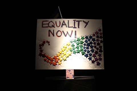 A marriage equality poster used by a picketer at the U.S. Supreme Court.