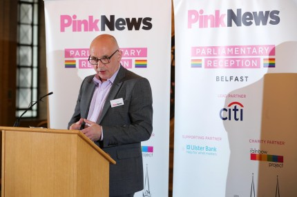 John Blair (Alliance) at the PinkNews Belfast Summer Reception. (Kelvin Boyes/Press Eye/PinkNews)