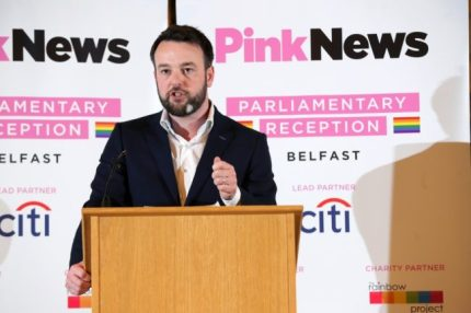 Colum Eastwood speaking at a podium