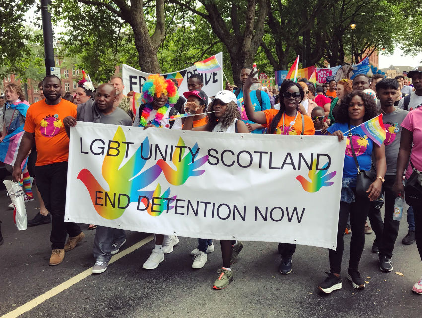 A pro-refugee contingent at Glasgow Pride