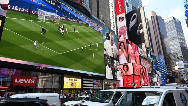 American fans watched the game on a big screen in Times Square