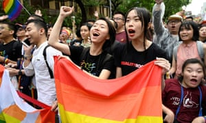 Supporters of same-sex marriage celebrate outside the parliament in Taipei last month.