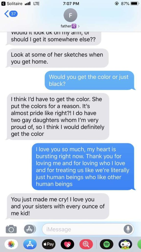 Text messages between father and daughter