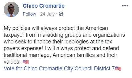 Chico Cromartie post about taxes