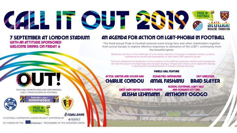 Call It Out 19, London Stadium, LGBTQ, soccer, football, homophobia, Pride in Football, Pride of Irons