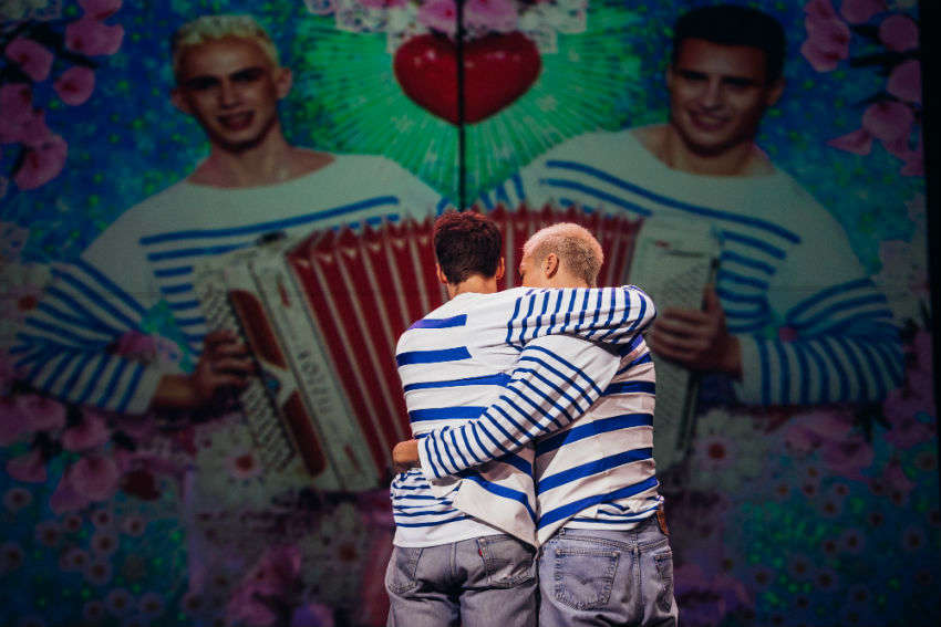 The romance between Gaultier and late partner Francis Menuge is depicted in the show