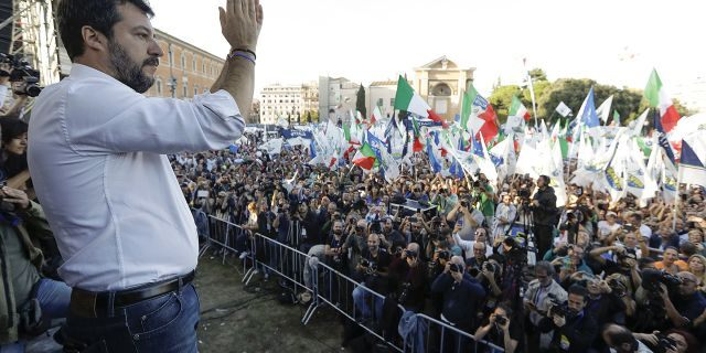 "The League leader Matteo Salvini addresses a rally in Rome, Saturday, Oct. 19, 2019. Thousands of protesters are gathering in Rome for a so-called ""Italian Pride"" rally, which brings together the right-wing League of Salvini, the far-right Brothers of Italy of Giorgia Meloni and former premier Silvio Berlusconi's Forza Italia. (AP Photo/Andrew Medichini)"