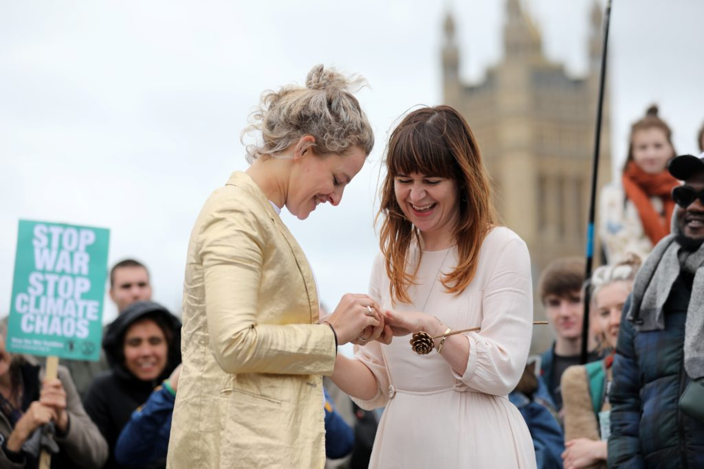 Tasmin and Melissa take part in a blessing ahead of their wedding day