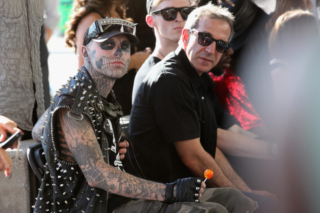 Rick Genest (L) attends the Asher Levine Spring 2013 fashion show during Mercedes-Benz Fashion Week at Pier 81 Studio. (Chelsea Lauren/Getty Images for Asher Levine)