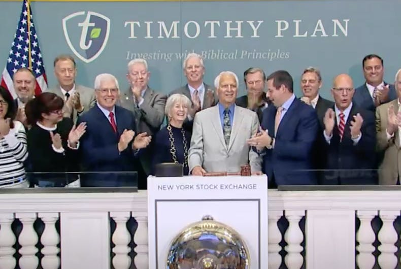 Hate group leader Mat Staver (front row, third from right) helps ring the NYSE opening bell.