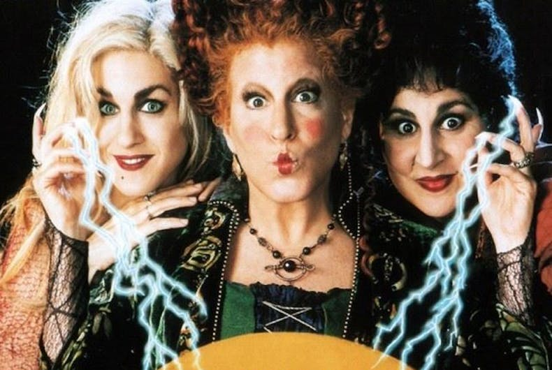 The Hocus Pocus movie poster shows three witches casting a spell.