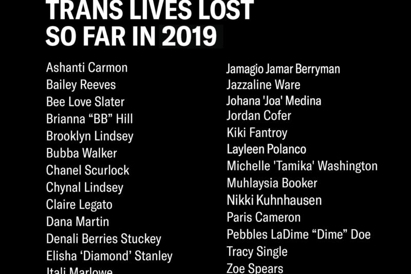 Trans lives lost so far in 2019
