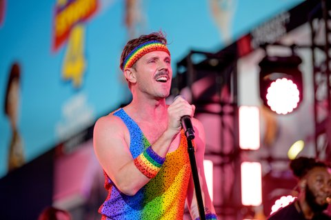 Jake Shears performs during the Closing Ceremony of WorldPride NYC 2019 at Times Square on June 30, 2019 in New York City.