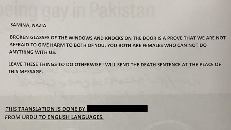 The two women fear for their safety if they are taken back to Pakistan