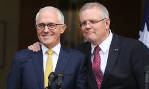 Scott Morrison (right) pledges his loyalty to then prime minister Malcolm Turnbull at a press conference in the PM's courtyard on 22 August 2018, two days before he took the leadership.