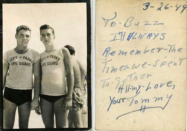 Photo of Tommy and Buzz with the note from Tommy on the back.