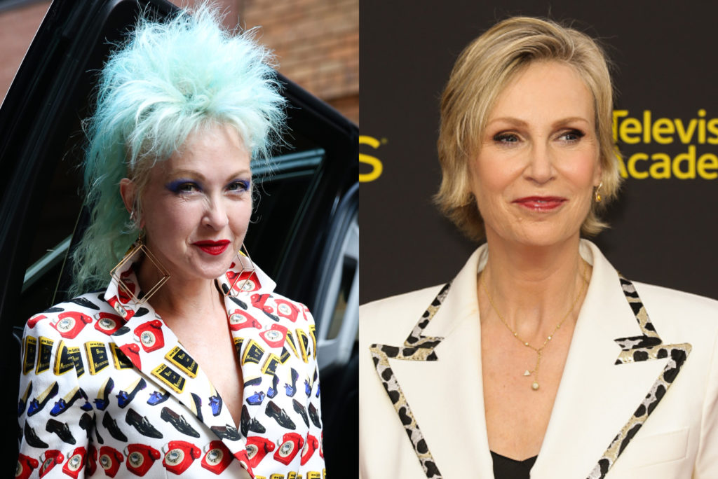 Cyndi Lauper (L) and Jane Lynch are set to do a Golden Girls-style show for Netflix. (Getty)
