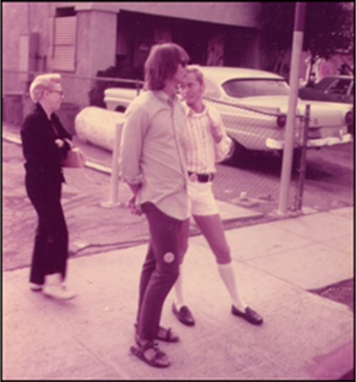 David Stout and Jamie Dibbins at the L.A. gay liberation parade - June 28, 1971.