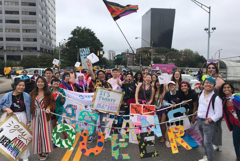 Asian/Asian-American people celebrating Pride in Downtown Atlanta, October 13, 20[19]. Ethan Trinh is on the right.