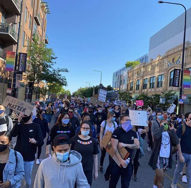 Marching for black and LGBT+ lives in Boystown, Chicago.