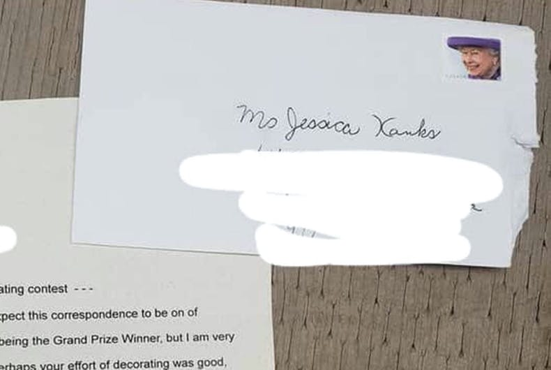 A portion of the letter sent to Jessica Hanks