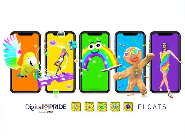 The Digital Pride floats on phone screens.