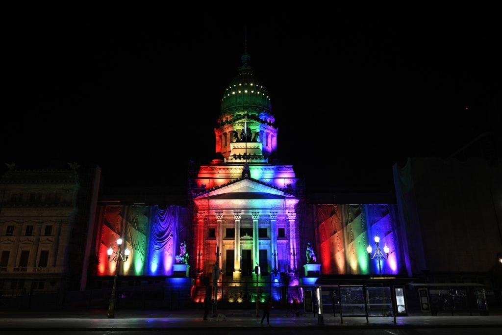 The Argentine Congress is illuminated in the rainbow colours to celebrate the 10th anniversary of the legalization of same-sex marriage in the country.( JUAN MABROMATA/AFP via Getty Images)