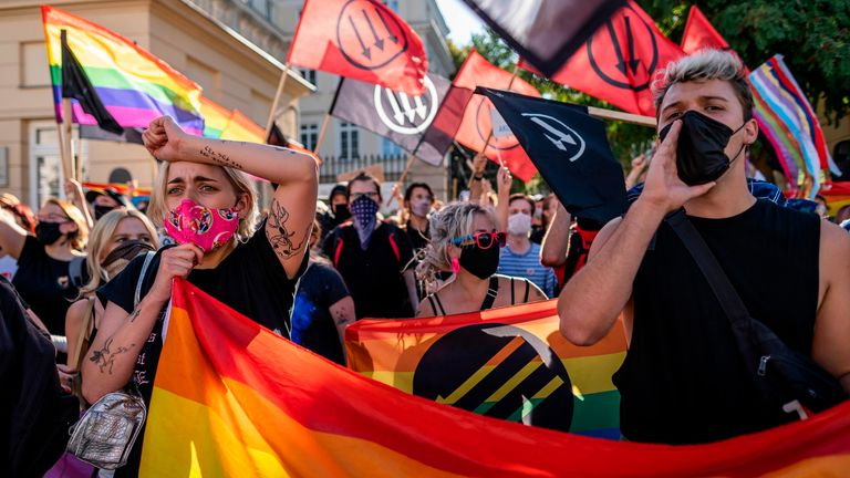 Members of the LGBT community stage a protest during a counter-demonstration against a demonstration of Polish nationalist and far right organisations