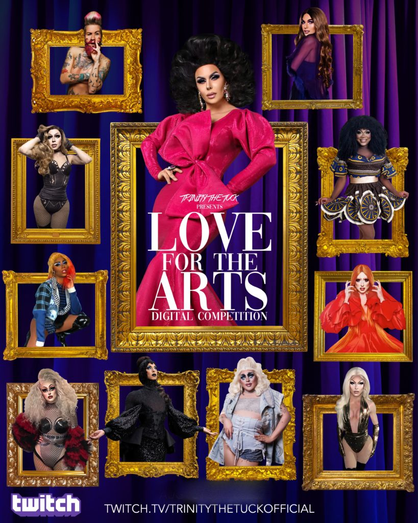 Trinity The Tuck and 10 drag performers standing in gold photo frames arranged on a wall