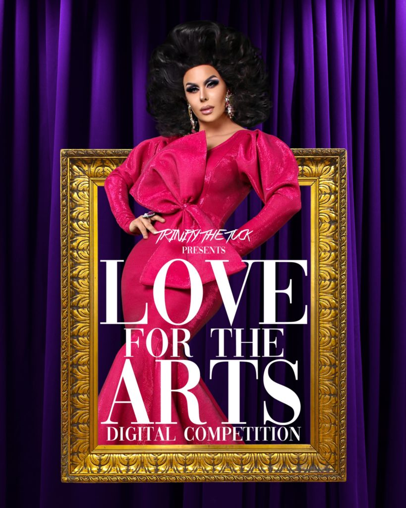 Trinity The Tuck is wearing a pink, 80s style gown with full sleeves, a full skirt and an oversized bow on the front. Her mug, beat for the gods, and her brunette bouffant stick out above the gilded frame she stands in.