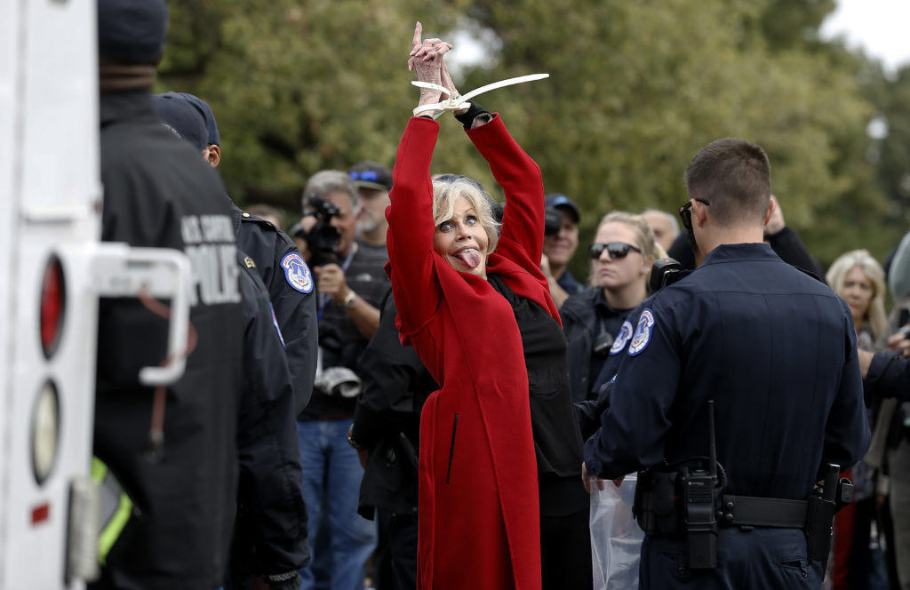 "Jane Fonda is arrested during the ""Fire Drill Friday"" Climate Change Protest on October 25, 2019 in Washington, DC. (John Lamparski/Getty Images)"