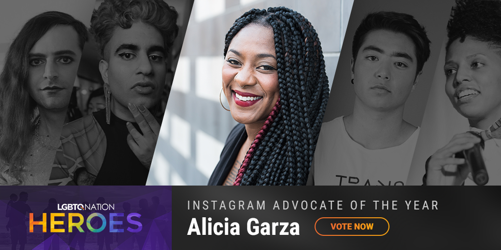 A graphic showing Alicia Garza, who is nominated for LGBTQ Instagram Advocate of the Year.