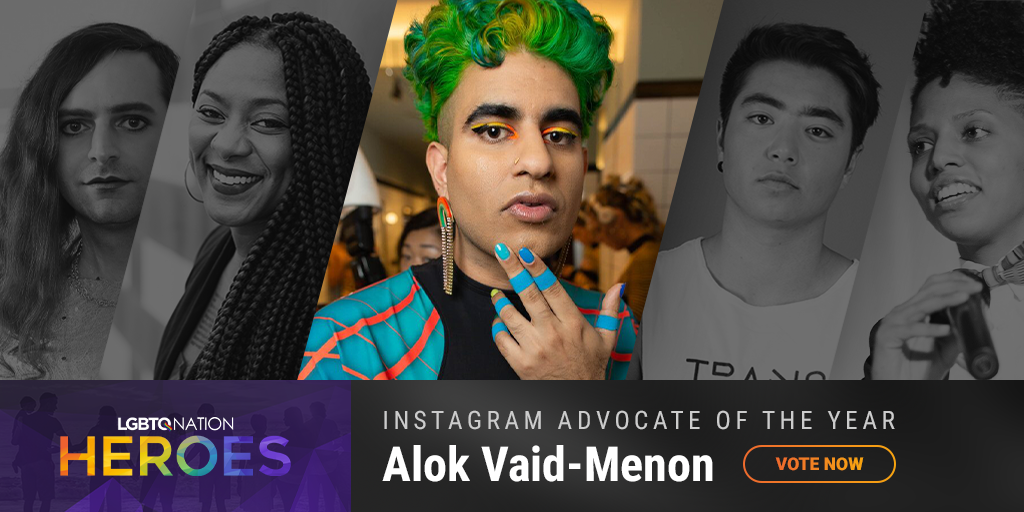 A graphic showing Alok Vaid-Menon, who is nominated for LGBTQ Instagram Advocate of the Year.