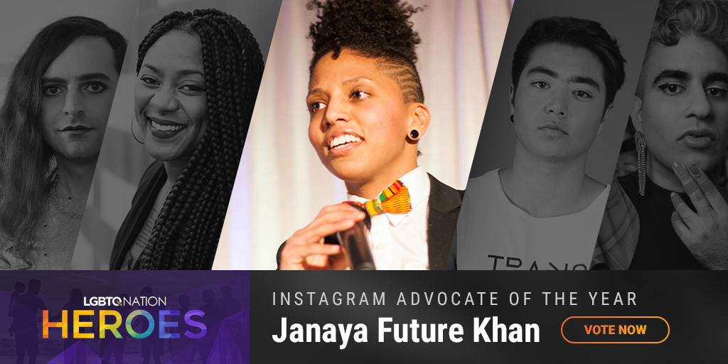 A graphic showing Janaya Future Kahn, who is nominated for LGBTQ Instagram Advocate of the Year.
