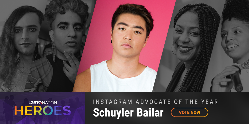 A graphic showing Schuylar Bailer, who is nominated for LGBTQ Instagram Advocate of the Year.