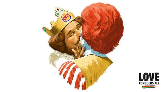 The Burger King mascot kisses Ronald McDonald.