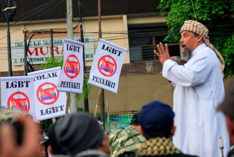 A 2016 protest in Yogyakarta, Indonesia against the existance of LGBTQ people.