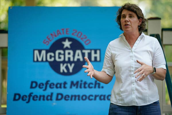 """Amy McGrath, the Democratic challenger to Majority Leader Mitch McConnell in Kentucky, said he was """"contradicting his stance on filling vacancies"""" by supporting a floor vote."""