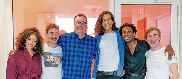 Davies with Alexander and some of the cast of It's A Sin.