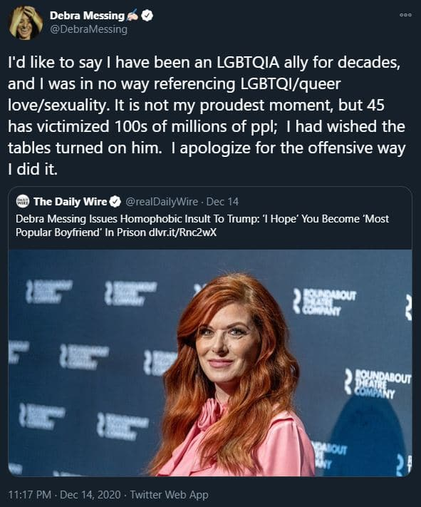 Debra Messing made clear she is not homophobic in response to the right-wing outlet