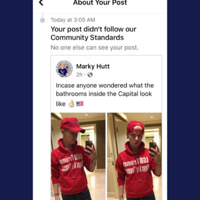 Hutt posted this screenshot online to a limited audience on Facebook after the social network hid his initial post of selfies taken in the U.S. Capitol's bathrooms.