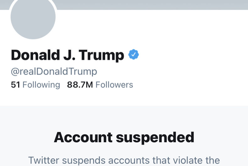 The @realDonaldTrump account on Twitter as it appeared on January 9, 2021, depicting his