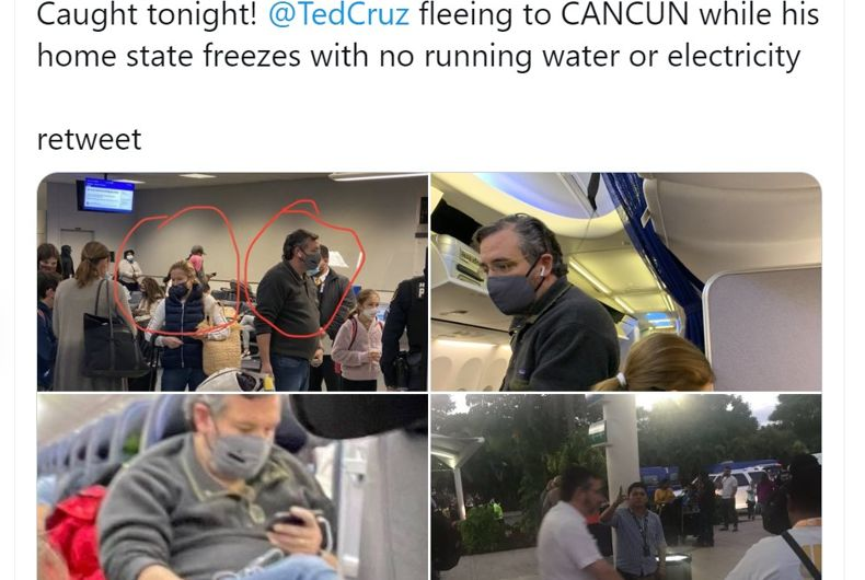 Twitter users are sharing pictures of a man who appears to be Sen. Ted Cruz flying to Mexico