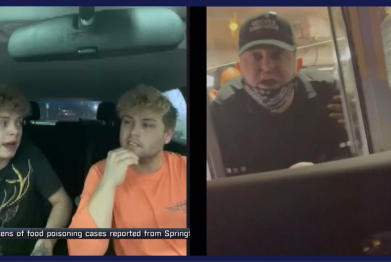 Joshua Garner and Lee Walls (left) talk about their ordeal with ex-KFC worker Payton Burke (right)