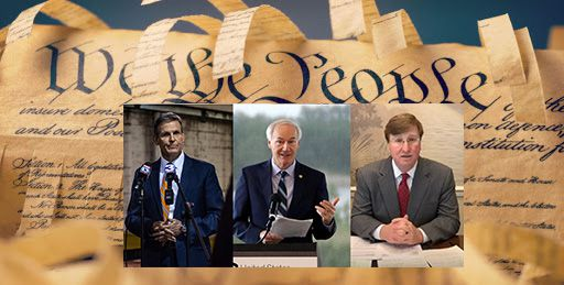 Gov. Bill Lee of TN, Gov. Asa Hutchinson of Ark. and Gov. Tate Reeves of Miss. talk to reporters in photos laid over a shredded copy of the U.S. Constitution.