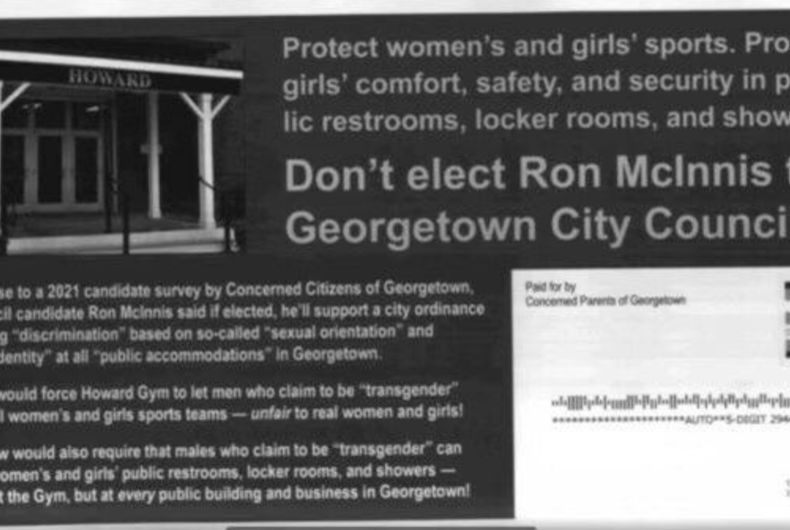 The flier sent to residents of Georgetown, SC accusing the Democratic candidate of being too friendly to transgender people.