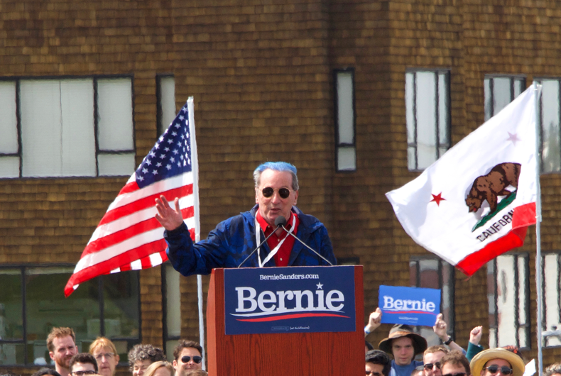 Tom Ammiano, politician and LGBTQ activist, speaking to the crowd at a campaign rally for Sen. Bernie Sanders in San Francisco, CA on March 24, 2019.